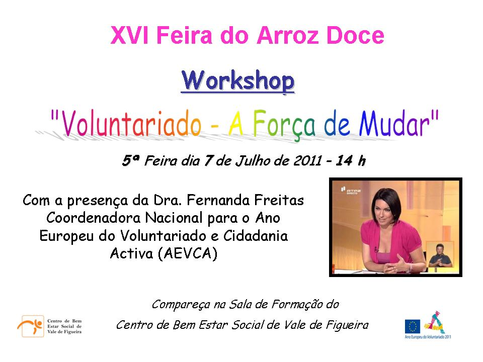 Cartaz Workshop Voluntariado